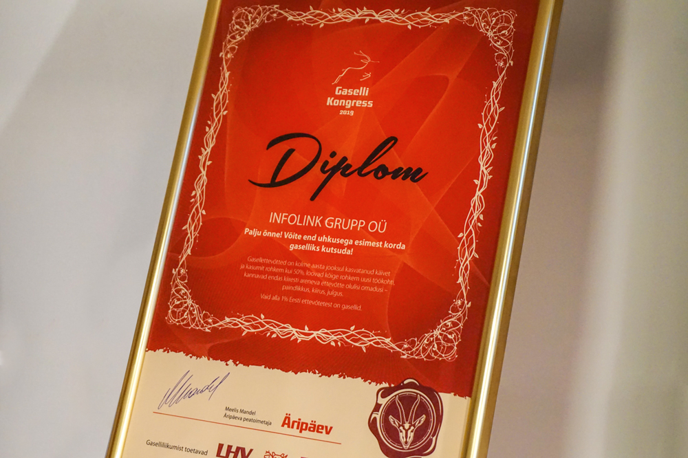 Netiabi (Infolink Grupp OÜ) was recognized as the 'Estonian Gazelle Company of 2019'